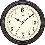Rikon Quartz Plastic Round Shape 36 Cm X 36 Cm Fancy Premium Home Decor Wall Clock (Brown Ivory) For Home And Office