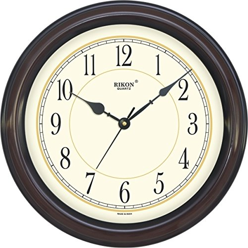 Rikon Quartz Plastic Round Shape 36 cm X 36 cm Fancy Premium Home Decor Wall Clock (Brown Ivory) For Home And Office