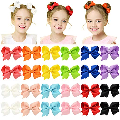 HLIN 24 Pcs 4.5 Grosgrain Ribbon Boutique Hair Bows Alligator Clips Hand Made for Girls Toddlers Kids(12 Pairs)