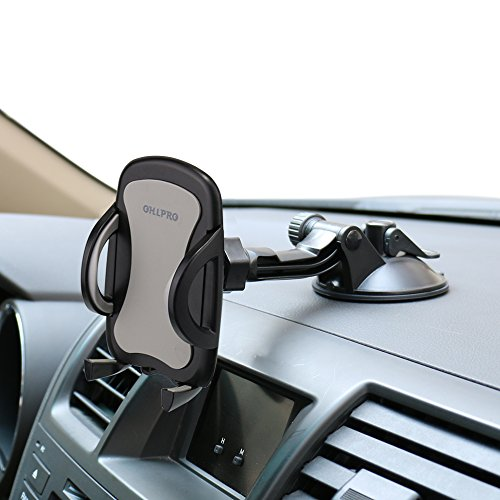 Car Phone Mount,OHLPRO Cell Phone Holder For Car Dash Windshield Dashboard Universal 360°Adjustable Rotating for iPhone Samsung SONY Google All 4″- 6.4″ Smartphones GPS Mobile (Silver)