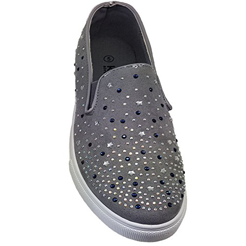 Slip Daps Trainers Grey Flat Pumps Boutique Ladies Sneakers Casual Diamante Rhinestone Fantasia On 4qCSn