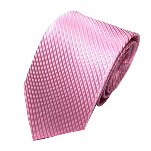 Liraly Clearance Mens Classic Jacquard Woven Striped Necktie Men's Tie Party Wedding Tie (Pink)