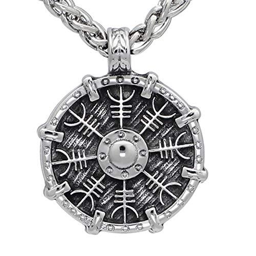 (ENXICO Viking Shield Pendant with Aegishjalmur Helm of Awe Pattern Pendant Necklace ♦ 316L Stainless Steel ♦ Nordic Scandinavian Viking Jewelry )