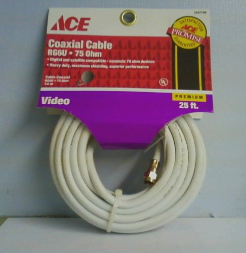 Coaxial Video Cable Rg6u Ohm White 25ft