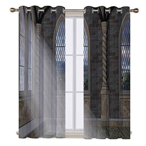 (SATVSHOP Windows Curtains Living Room 2 Panel - 120W x 72L Inch-Blackout Draperies for Bedroom.Fantasy Crepuscular ays Streaming Through Stained Glass Window Ancient Palace Castle Grey Cream White.)
