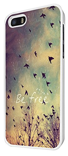 555 - Cool Be Free Birds Sky and Clouds Cute Natural Look Design iphone 4 4S Coque Fashion Trend Case Coque Protection Cover plastique et métal - Blanc