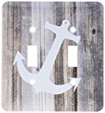 3dRose lsp_173902_2 Image of White Anchor on Planks Light Switch Cover