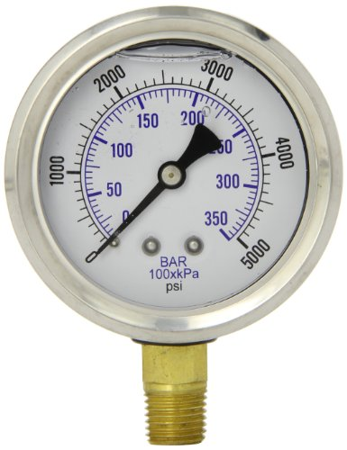 5000 Psi Pressure Gauge (PIC Gauge PRO-201L-254R Glycerin Filled Industrial Bottom Mount Pressure Gauge with Stainless Steel Case, Brass Internals, Plastic Lens, 2-1/2 Dial Size, 1/4 Male NPT, 0/5000 psi)