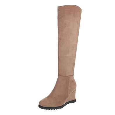 Stiefel Schuhe NEU Damen dünn gefüttert Overknee delw Hellbraun 37