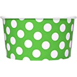 [50 Count] Green Paper Ice Cream Cups - 6 oz Polka Dotty Dessert Bowls - Comes In Many Colors & Sizes! Frozen Dessert Supplies