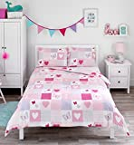 Bloomsbury Mill - Hearts & Butterflies Patchwork - Bedding Set - Pink - Double Duvet Cover and 2 Pillowcases