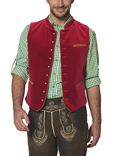 Stockerpoint Herren Trachtenweste Weste Ricardo, Rot (Dunkelrot), Large (Herstellergröße: 52)