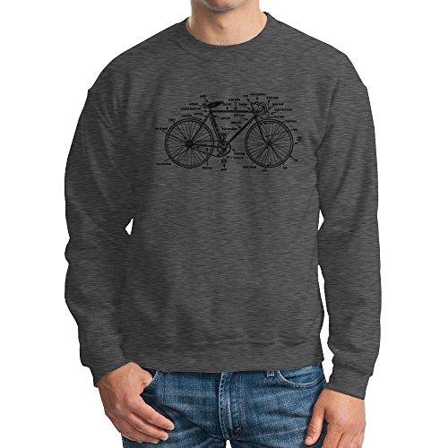 Men's Anatomy of A Bicycle Crewneck Sweatshirt (Charcoal, Large)