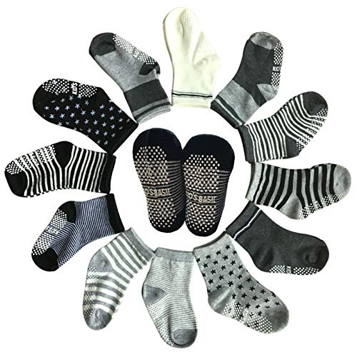 Baby 6 Pairs Assorted Non Skid Ankle Cotton Socks Baby Walker Boys Girls Toddler Anti Slip Stretch Knit Stripes Star Footsocks Sneakers Crew Socks with Grip for 1-3 Years ()