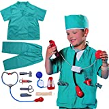 iiniim Kids Boys Fire Fighter/Police Man/Surgeon Cosplay Costume Fancy Outfit Toys Kits Fire Chief Pretend Play Dress Up Set Green One Size