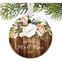 """Rustic Newlyweds Christmas Ornament, 2018 First Christmas as Mr & Mrs Gift for Couple Wedding Day Beautiful Modern Farmhouse Floral Present 3"""" Flat Circle Porcelain with White Ribbon & Free Gift Box"""