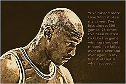 Success Quote Photo Poster Michael Jordan Basketball Great Sports