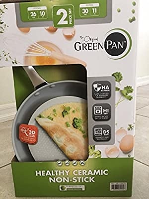 Non Stick Ceramic Pan - The Orginal Green Pan 2 Piece Set 10,11 Thermolon Non Stick Ceramic Lifetime Warranty