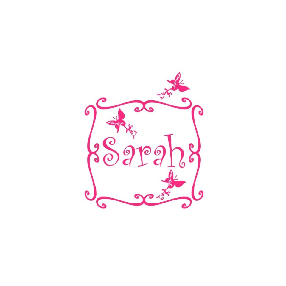 Customized Name Wall Decal Sticker with Beautiful Swirly Frame and Butterflies Vinyl Decals Look Almost Painted On   Wall Decor Stickers