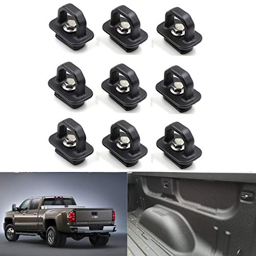 TadaMark Tie Down Anchor Truck Bed Anchors Compatible for 07-18 Chevy Silverdo/GMC Sierra,15-18 Chevy Colorado/GMC Canyon (Pack of 9)