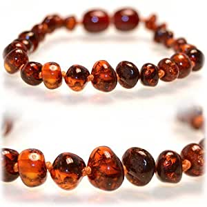 The Art of CureTM *SAFETY KNOTTED* Brown baroque -(Unisex) - Certified Baltic Amber Baby Teething Necklace Highest Quality Guaranteed- Anti Flammatory, Drooling & Teething Pain. Easy to Fastens with a Twist-in Screw Clasp Mothers Approved Remedies!
