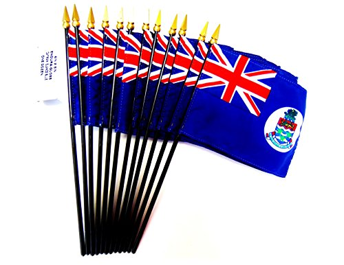 MADE IN USA!! Box of 12 Cayman Islands 4''x6'' Miniature Desk & Table Flags; 12 American Made Small Mini Cayman Flags in a Custom Made Cardboard Box Specifically Made for These Flags by World Flags Direct