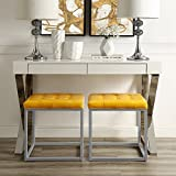 Newton Yellow Leather Cube Ottoman - Metal Frame | Button Tufted | Modern & Contemporary | Inspired Home
