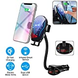 Flow.month Car Cigarette Lighter Wireless Charger- Phone Holder Mount,Automatic Infrared Smart Sensing 10W Qi Fast Wireless Charging Cradle for Cell Phone,Dual USB, 3.1A Max