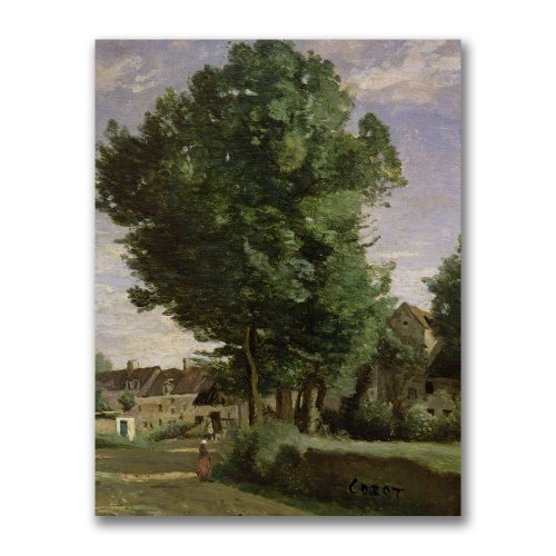 Trademark Fine Art Outskirts of a village by Jean Baptiste Corot Canvas Wall Art, 35x47-Inch