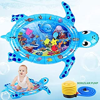 FiGoal Tummy Time Water Mat Sea Turtle Shape Infants & Toddlers Play Mat Toy, Inflatable Mat Fun Play Activity Center with Bonus Air Pump (Blue)