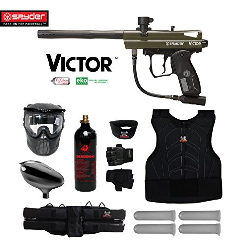 MAddog Kingman Spyder Victor Starter Protective CO2 Paintball Gun Package (Olive)