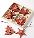 Christmas Tree Decorations - Red Wooden Star & Tree Gingham Hangers - Set of 12 Hanging Decorations (ZF317)