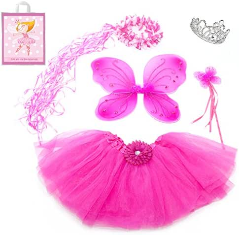 5 Piece Sparkle Fairy Princess Costume Set PLUS GIFT BAG (Hot Pink)