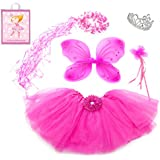 5 Piece Sparkle Fairy Princess Costume Set PLUS GIFT BAG (Hot Pink)