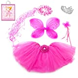 Lilly and the Bee Novelties Sparkle Fairy Princess Costume Set wih Gift Bag - Hot Pink, (5-Piece)