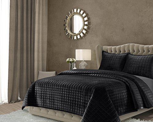 Tribeca Living FLORENCEQUIKIBL Florence Velvet Oversized Solid Quilt Set, King, Black ()