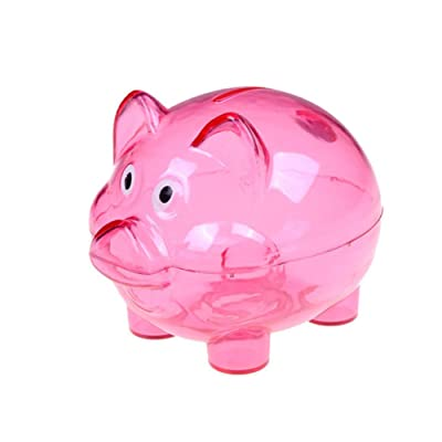 Gsdviyh36 Lovely Cartoon Pig Transparent Plastic Piggy Bank Coin Money Box Kids Gift, Safe Coin Bank,Sturdy Money Saving Jar, Make Saving a Habit Rose Red: Kitchen & Dining