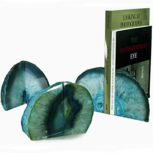 Hypnotic Gems Gallery: Premium Quality Pair of Teal Green Agate Bookends - 1 to 3 lbs per set - Small Size -