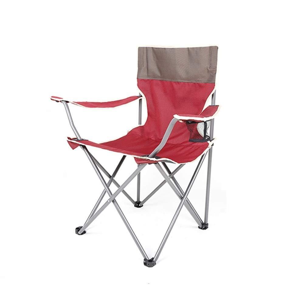 rouge L LZMX Chaise pliante ultra-légère portative, adaptée à la chaise de camping en plein air, chaise de plage décontractée, chaise de pêche simple, avec support de tasse à accoudoirs, capacité