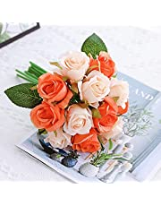 Jasion Artificial Roses Flowers Arrangement Silk Bouquet for Home Office Parties Bridal and Wedding Decoration