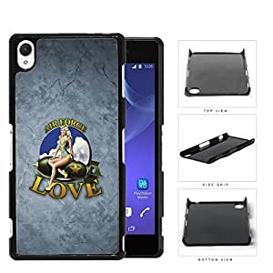 Air Force Love with Retro Pin up Girl on Plane and Grunge Background Sony Xperia Z3 Hard Snap on Plastic Cell Phone Case Cover