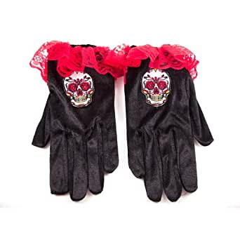 HMS Day Of The Dead Velour Gloves, Black/Red, One Size