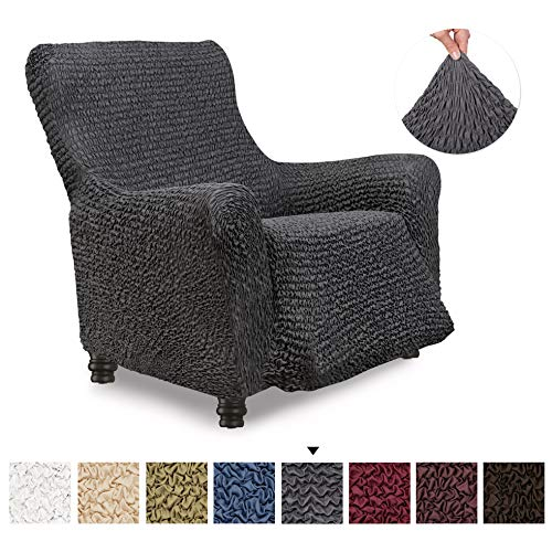 Recliner Cover - Recliner Chair Cover - Recliner Slipcover - Soft Polyester Fabric Slipcover - 1-piece Form Fit Stretch Stylish Furniture Protector - Microfibra Collection - Grey (Recliner)