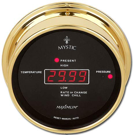 Maximum Weather Instruments Mystic Digital Thermometer/Barometer- Brass case, Black dial