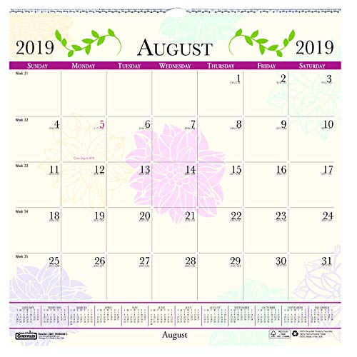 Doolittle Monthly Wall Calendar - House of Doolittle 2019-2020 Monthly Wall Calendar, Academic, Whimsical Floral, 12 x 12 Inches, August - July (HOD38415-20)