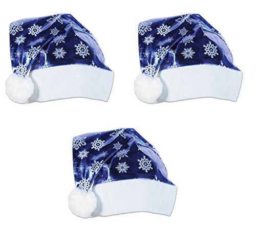 Beistle 20811 3Piece Metallic Blue Santa Hats, , Blue/White