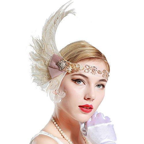 BABEYOND 1920s Flapper Headpiece 20s Peacock Feather Headband Crystal Great Gatsby Headband 1920s Flapper Gatsby Hair Accessories ()