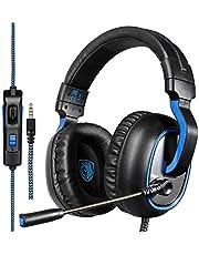 Gaming-Headset, Sades SA818 PS4 Gaming Headset für Xbox One, PC, Switch, Tablet, Nintendo Laptop, Mobile, mit MIC LED über Ohrgeräusche Abbruch & Lautstärkeregelung (schwarz & blau)