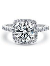 Women Wedding Ring 2 Carat Round Brilliant Cubic Zirconia Engagement Promise Anniversary Ring Solitaire Wedding Band Bridal Set