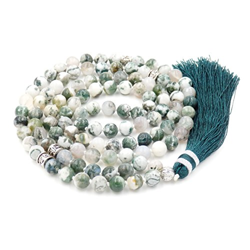 Gemstone Mala Beads Necklace, Mala Bracelet, Buddha Necklace, Hand Knotted Mala (Tree -